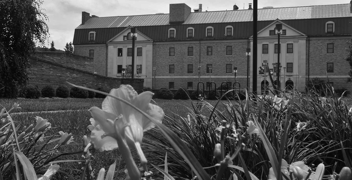 Massie Hall Building Black and White