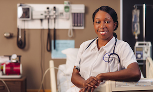 Nursing student in uniform in hospital setting