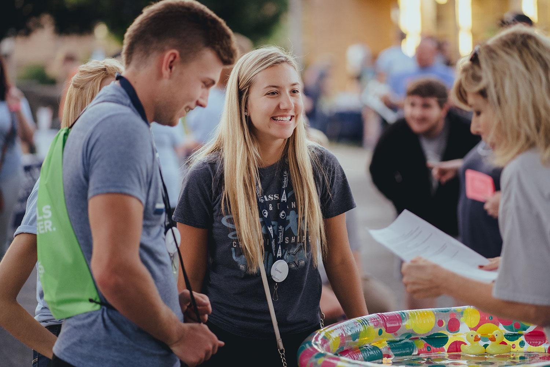 Students interacting at WOW