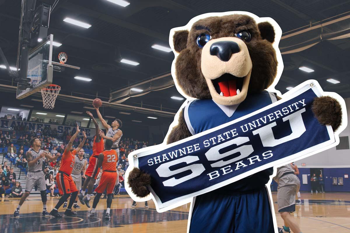 Bear Mascot at Basketball game