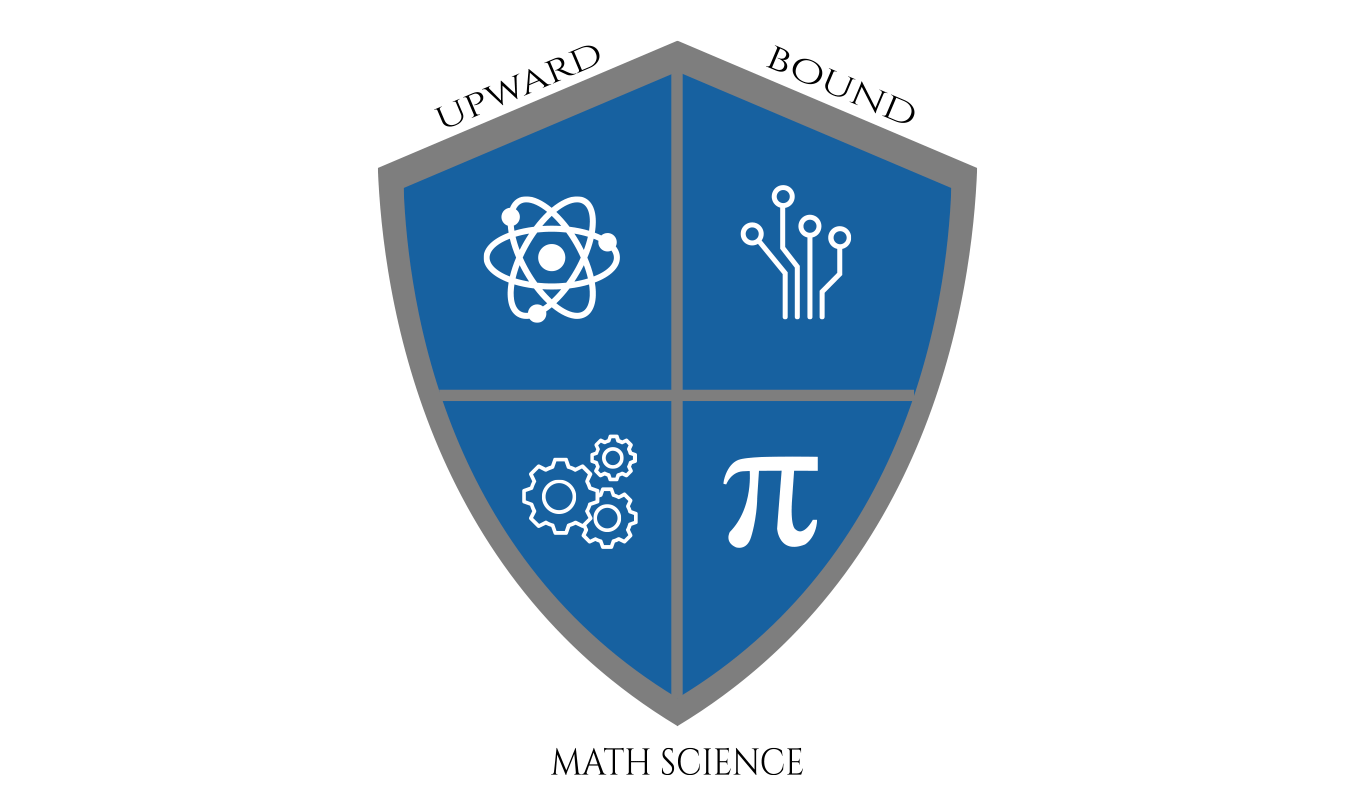 Upward Bound Math Science Shield with symbols