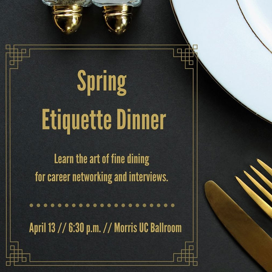 "Graphic with the text ""Spring Etiquette Dinner"""