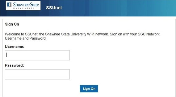 SSUnet Sign On page