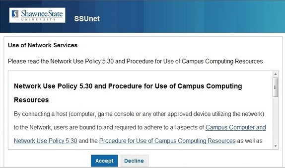 Accept or Decline - Use of Campus Computing Resources policy