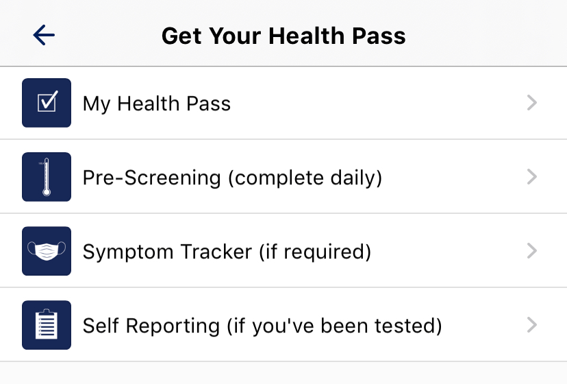 Get Your Health Pass Options screen