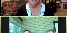 three women talking on computer screen
