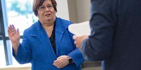 Image of Dr. Brenda Haas being sworn in