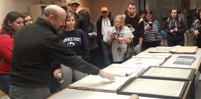Shawnee State University Dr. Andrew Feight discusses the Historic Portsmouth Newspaper Digitization Project with students from his Ohio History course.