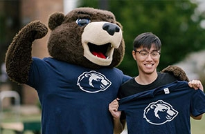 International student with Shawn E. Bear
